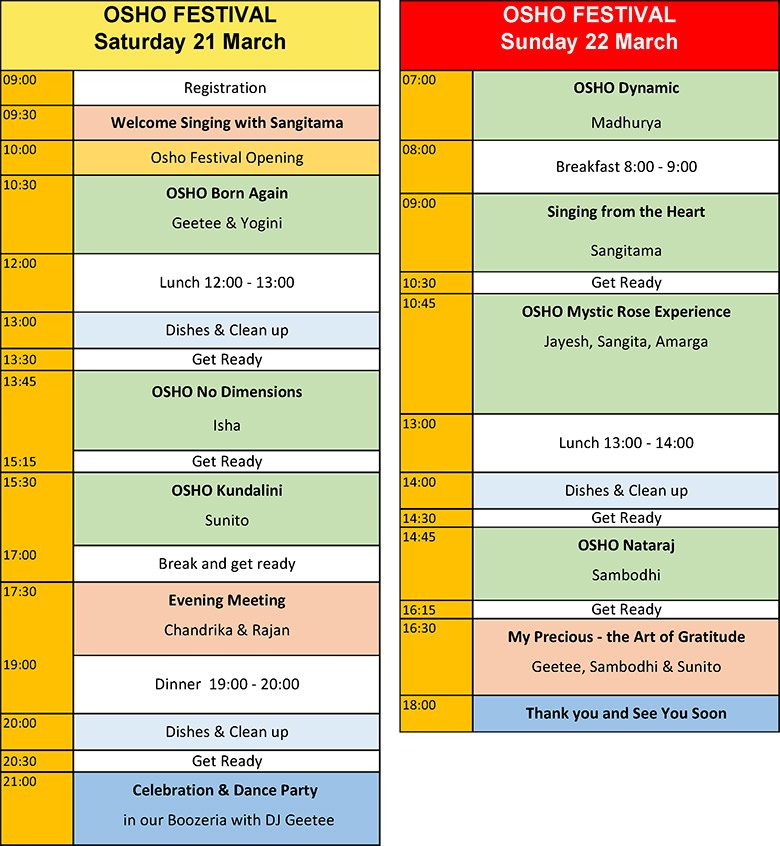 Osho Festival Program Saturday and Sunday